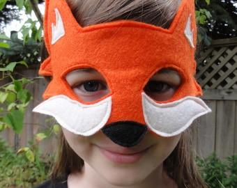 Fox Mask - Orange Fox - Woodland Animal Mask - Fox Costume - Adult Size - Child Size