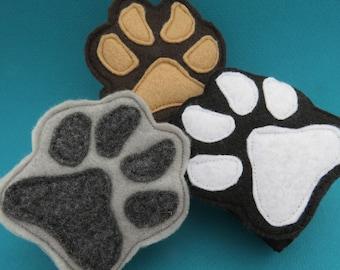 Paw Cuffs - Animal Paw Prints - Paw Wristbands - Animal Mask Add On - Dog - Wolf - Bear - Child Size