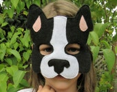 Dog Mask - Puppy Mask - Animal Mask - Felt Mask - Pretend Play - Dress Up - Boston Terrier