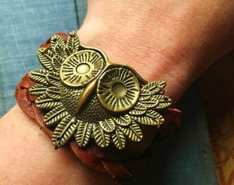 Owl Brass and Leather Bracelet, braided comfortable bracelet with snap closure