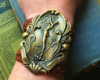 Fairy Brass and Leather Bracelet, braided comfortable bracelet with snap closure