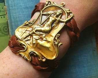 Goddess Brass and Leather Bracelet, braided comfortable bracelet with snap closure