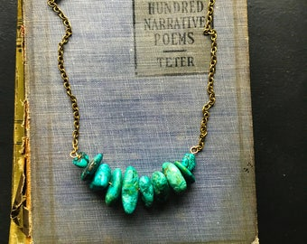 Chunky Turquoise Nugget Necklace on Antiqued Brass