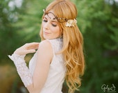 Bridal Headpiece with Cream Colored Velvet flowers, gold toned crystal beads and glass pearls with woven faux vine free shipping worldwide
