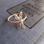 Dragonfly  Ring on Antiqued Brass Band, Art Nouveau, Tattoo, Steampunk Stacking Rings