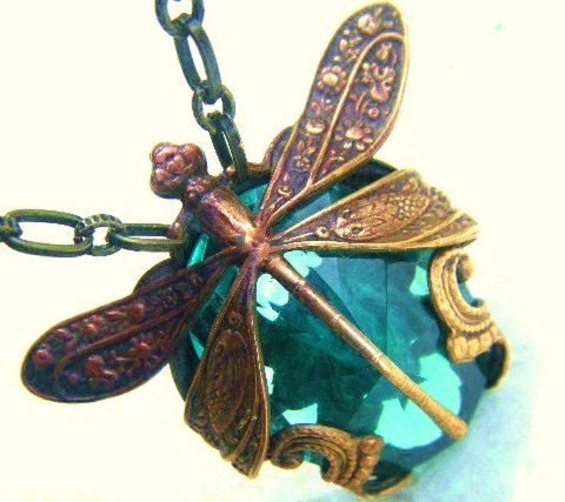 Dragonfly Necklace-Harvest Pattern Art Nouveau with Blue Green image 0