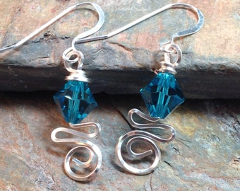 Wire Wrapped December Swarovski Birthstone Earrings
