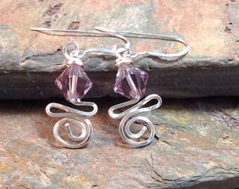 Wire Wrapped June Swarovski Birthstone Earrings