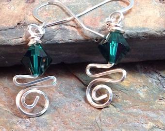 Wire Wrapped May Swarovski Birthstone Earrings