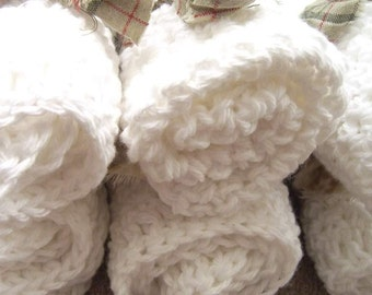3 pure white dishcloths in cute bundles