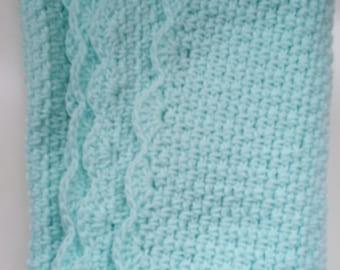 Soft Aqua Baby Blanket Afghan with Scalloped Edge