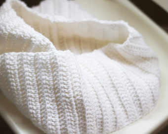 Cozy and Soft Winter White Infinity Scarf