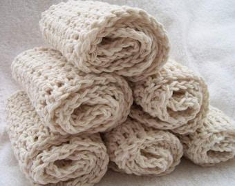 set of 6 oatmeal dishcloths