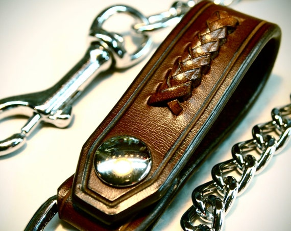 Leather Wallet chain Brown American bridle leather and braided calf lace Applique made for YOU in USA by Freddie Matara!
