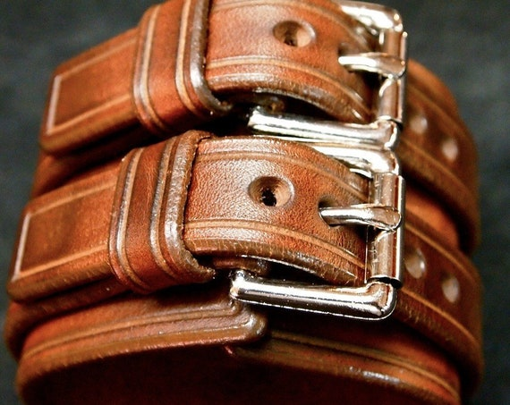 Brown Leather cuff Bracelet : Luxurious Bridle leather Double strap wristband. Finely crafted in New York!