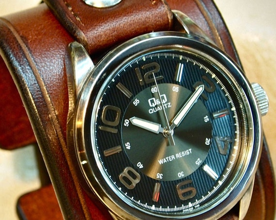 Brown Leather cuff Watch : Vintage Brown bridle leather wristband/watchband. Mens gift ; Made in New York!