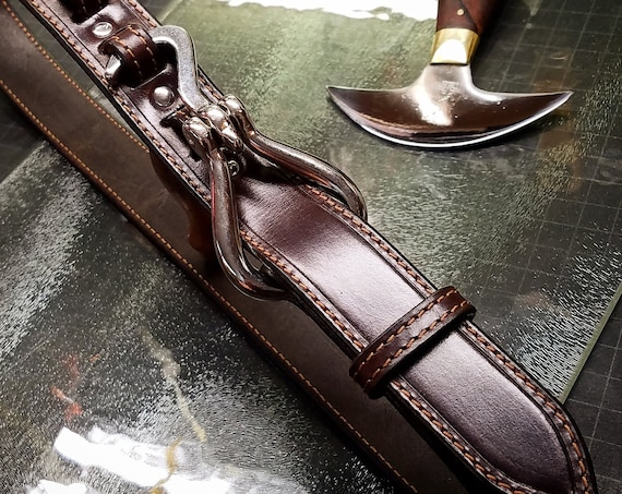 Brown Leather Horse Pick Belt Custom Made vintage look handmade for YOU in New York   by Freddie Matara