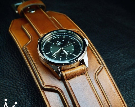 Brown Leather cuff watch : Light Brown wide leather wristband / watchband. Custom Made in New York!