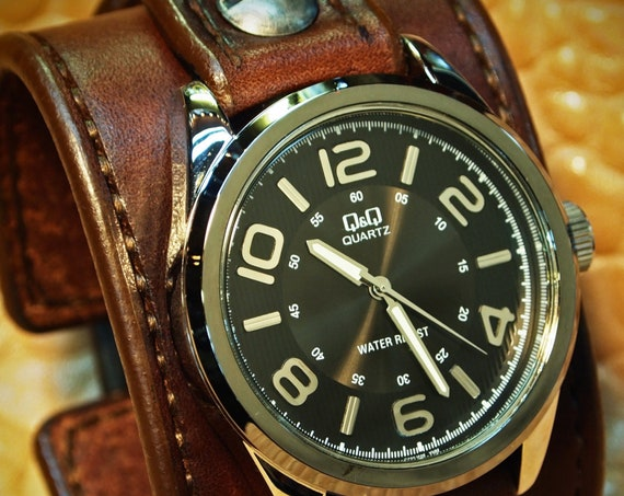 Brown Leather Watch : Vintage cuff style Chocolate brown bridle leather watchband . Handstitched in New York
