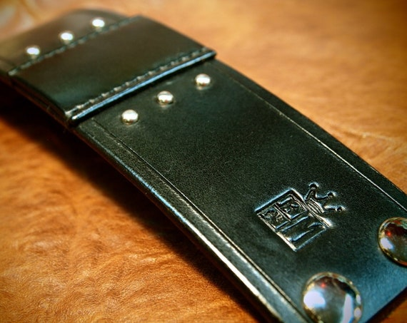 Black leather cuff : Studded and Hand stitched using American bridle leather. Made in USA!