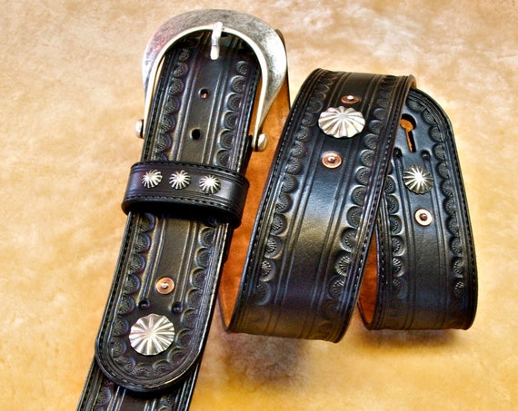 Black Leather Guitar strap : Hand tooled, Black Vintage OUTLAW Cowboy Rockstar Style!  Handmade in New York