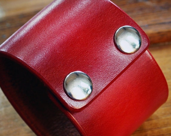 Red Leather cuff bracelet : Custom wristband slickest edges Handmade for you in New York by Freddie Matara