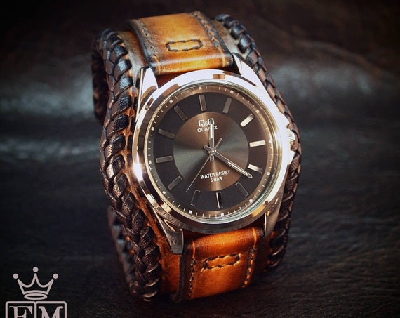 Leather cuff watch : Brown Tobacco sunburst with laced edge and hand stitching. Elegant Bund style! Made in New York