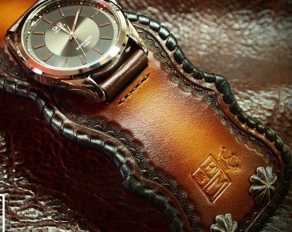Brown Leather Cuff Watch : Hand dyed Sunburst Tan fade. Traditional American ROCKSTAR style! Hand crafted in New York!