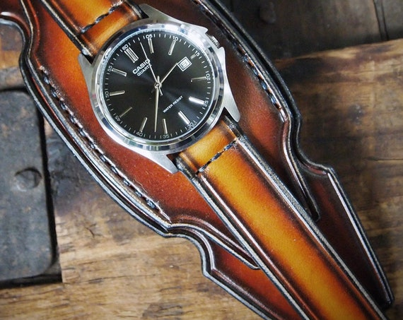 Leather cuff watch: Brown western deep sunburst with Sexy curve Design. Handmade in New York, USA!