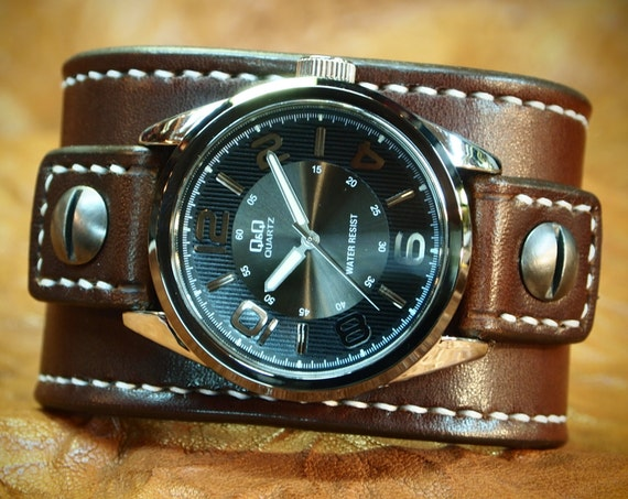 Leather cuff Watch Vintage Chocolate brown bridle leather watchband - handstitched leather watch band Made for YOU in USA by Freddie Matara