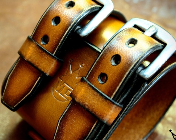 Brown Leather cuff bracelet : Vintage sunburst fade finish wristband. Best quality- Hand made in New York!