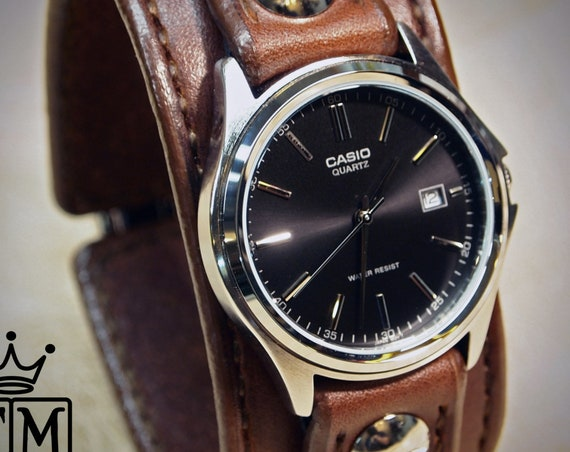 Brown Leather cuff Watch : American bridle leather handstitched watch band with Casio watch. Made in NY