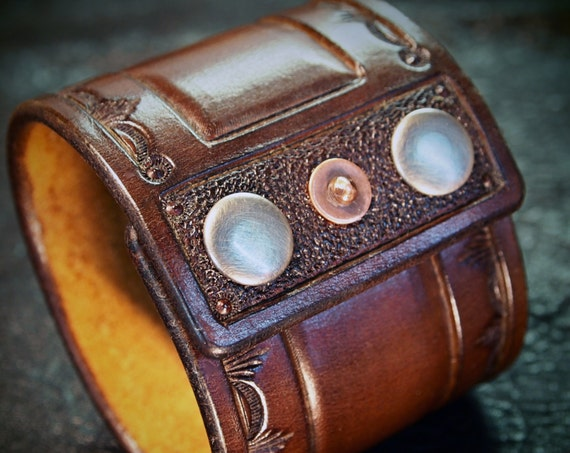 Brown Leather cuff wristband : Saddle Brown Cowboy Old West style Stamped and hand tooled for YOU in USA