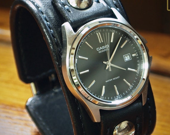Black Leather cuff Watch : Vintage black bridle leather handstitched watch band with Casio watch custom made for YOU in New York