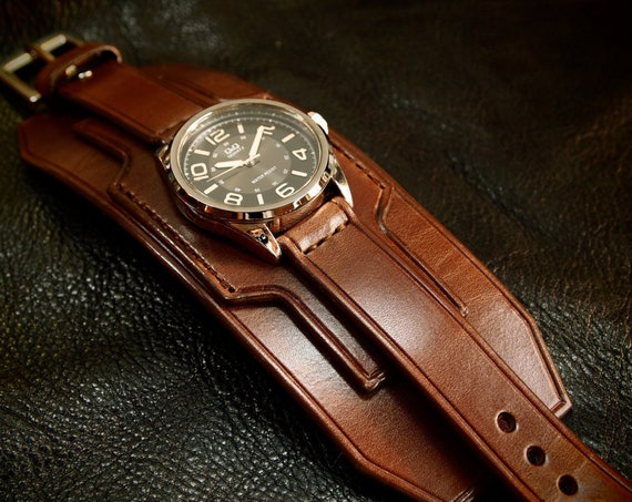 Brown Leather cuff watch : Wide wristwatch style using fine quality Vegetable tanned leather. Made in New York!