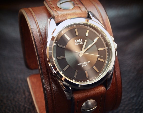 Leather cuff Watch Brown bridle leather Rich vintage style Wristband watchband, wrist watch made for YOU in USA by Freddie Matara