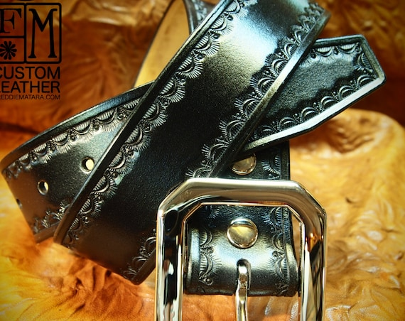 Black Leather Belt : Hand Tooled Black Western/ Native border. Custom made for YOU in New York!