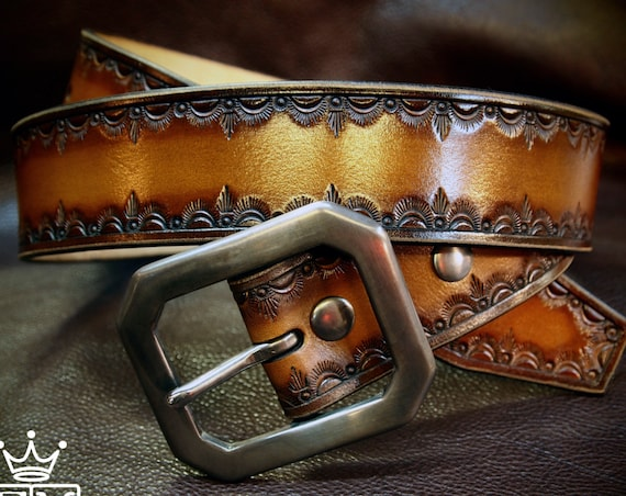 Brown Leather Belt : Hand Tooled Cowboy/Western/Native border. Custom made for YOU!