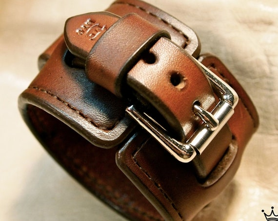 Brown Leather wristband : Handstitched cuff bracelet custom crafted for YOU in New York!
