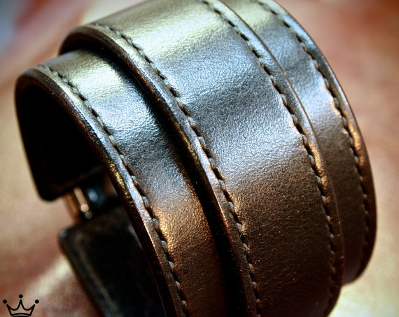 Black Leather cuff bracelet : Hand stitched with Fine Leatherworking skills. Best Quailty made In New York USA!