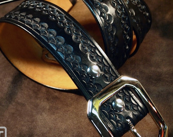 Black Leather Belt : Custom Hand Tooling with unique Stamping pattern. Fine Vegetable tanned Leather!