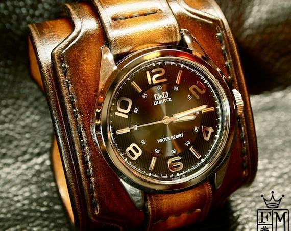 Leather cuff watch Brown Tobacco sunburst wide layered Brown watch band cuff Bracelet  Handmade for YOU in New York by Freddie Matara