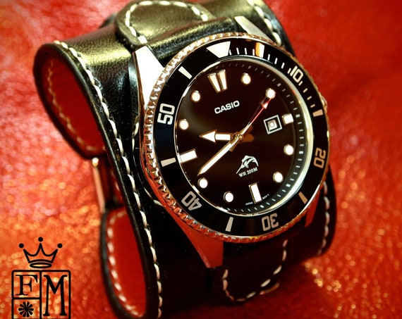 Black Leather cuff watch : Red calf lined Hand-stitched. Casio diver watch Custom made for YOU in USA by Freddie Matara