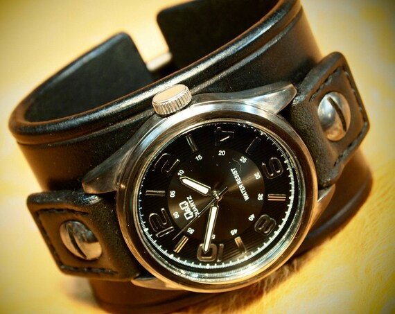 Leather cuff Watch Vintage Black bridle leather, wrist watch made for YOU in New York by Freddie Matara
