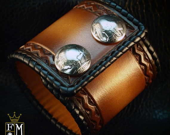 Leather cuff Bracelet Brown sunburst Vintage style laced edge, hand tooled, Buffalo nickels - Quality Made for YOU in USA by Freddie Matara