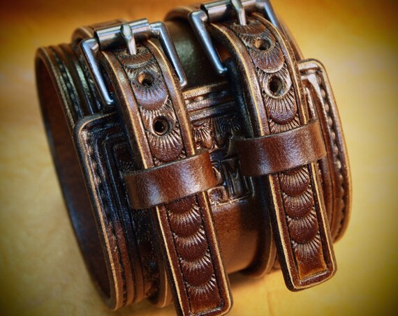 Brown Leather Wrist Cuff : Traditional American Cowboy Rockstar style Bracelet. Made for YOU in New York USA!