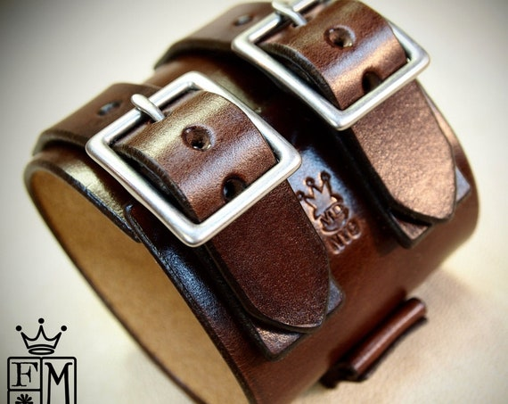 Brown Leather cuff watchband : Vintage style wristband for watch or without. Made in New York!