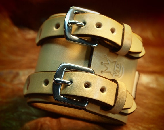 Leather wrist cuff Best quality Natural Tan Depp style bracelet Made for You in USA by Freddie Matara