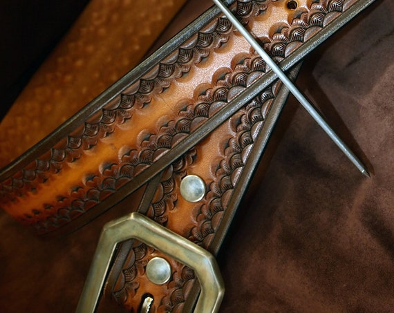 Brown Leather Belt : Custom Sunburst finish. Hand Tooled and made just for YOU in New York!