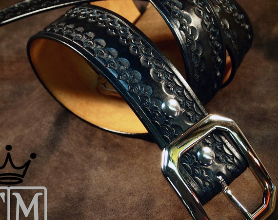 Leather Belt Custom  Hand Tooled made in New York